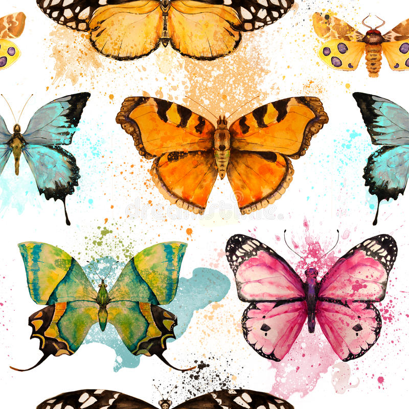 Bezszwowy wzór z akwarela motylem ilustracji
