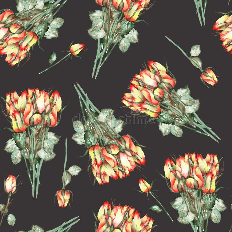 Bezszwowy wzór z akwarela pięknymi bukietami czerwone i żółte róże na czarnym tle royalty ilustracja