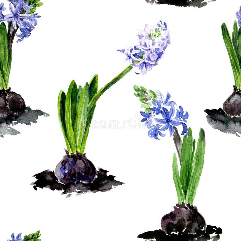 Bezszwowy wzór z akwarela rysunku kwiatami ilustracji
