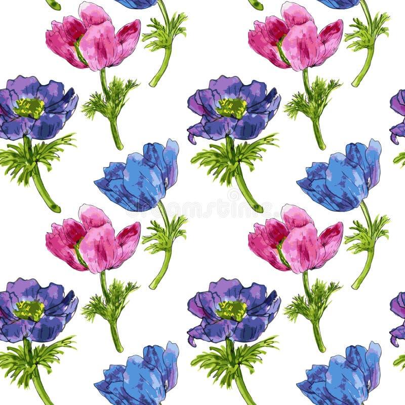 Bezszwowy wzór z akwarela rysunku kwiatami royalty ilustracja