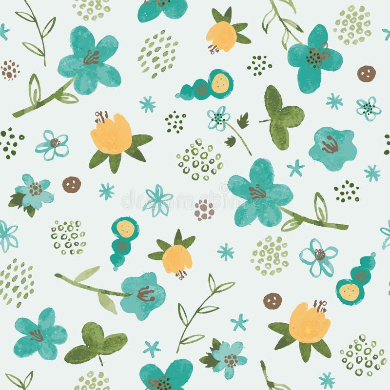 Bezszwowy wzór z akwarela tropikalnymi kwiatami na błękitnym tle ilustracji