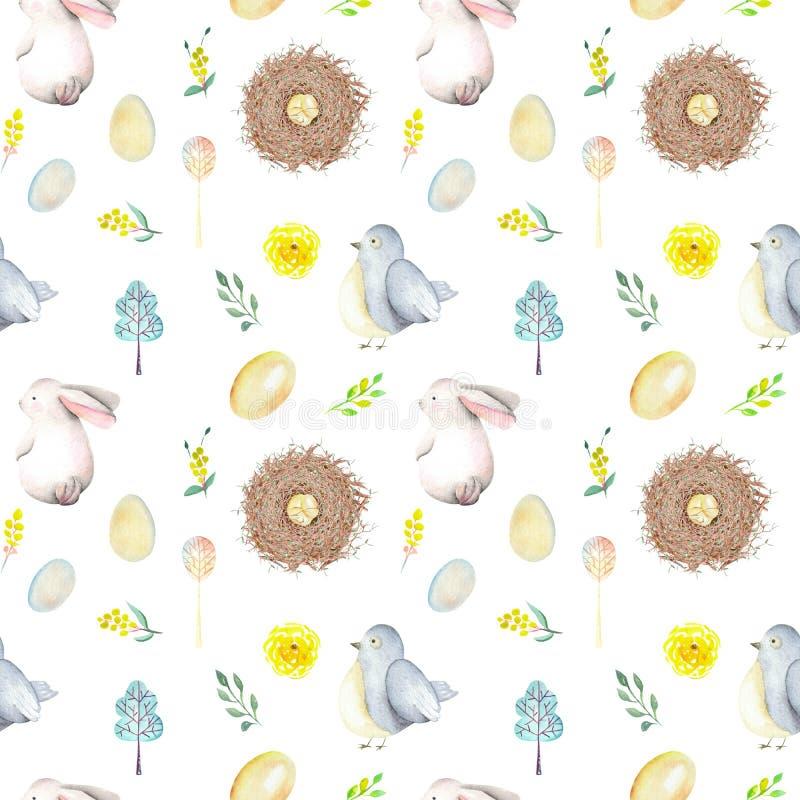 Bezszwowy wzór z akwarela Wielkanocnymi królikami, ptaków gniazdeczkami, jajkami, ptakami, kolorem żółtym i zielenią, rozgałęzia  royalty ilustracja