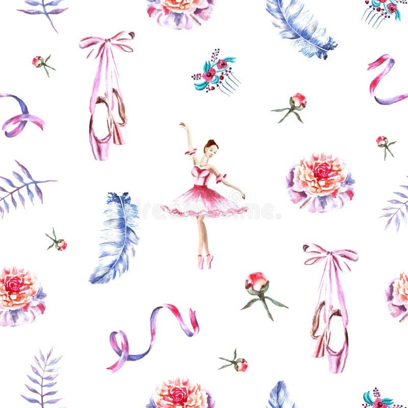 Bezszwowy wzór z akwareli baleriną, faborki, piórka, pointes, peonie ilustracji