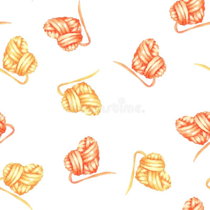 Bezszwowy wzór z akwareli czerwieni i koloru żółtego kierową piłką przędza royalty ilustracja