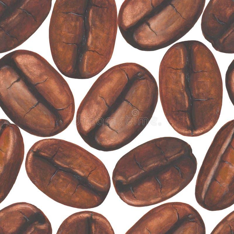 Bezszwowy wzór z akwareli kawowymi fasolami na białym backgroun ilustracja wektor
