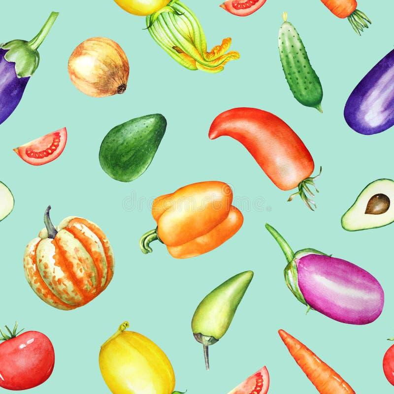 Bezszwowy wzór z akwareli kolorowymi warzywami na bławym tle ilustracji