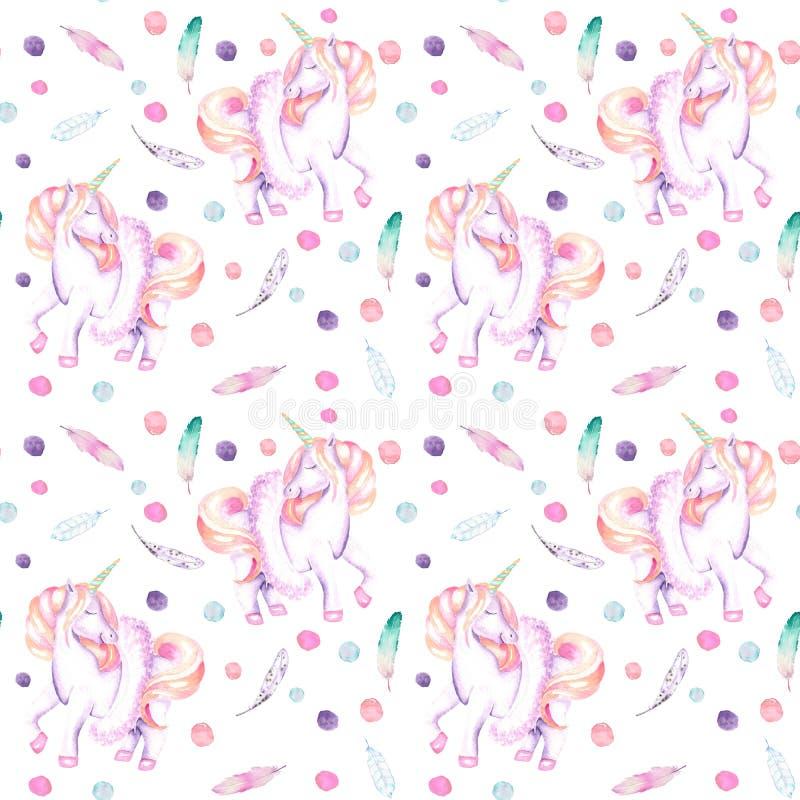 Bezszwowy wzór z akwareli menchii jednorożec w spódniczce baletnicy, piórkach i confetti, royalty ilustracja