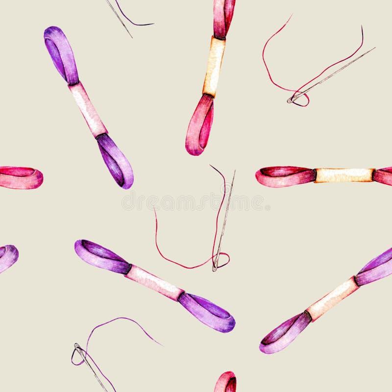 Bezszwowy wzór z akwareli nicianym floss i igłami różowym i purpurowym ilustracja wektor