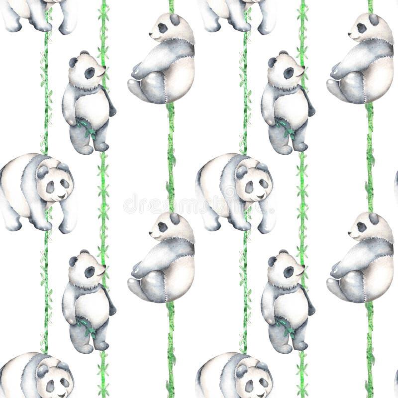 Bezszwowy wzór z akwareli pandami i bambusem ilustracji