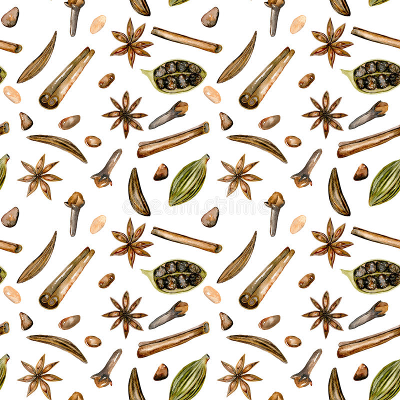Bezszwowy wzór z akwareli pikantność & x28; cynamon, anyż, karolek, kardamon i cloves&, x29; ilustracji