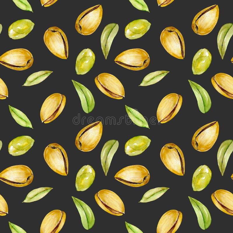 Bezszwowy wzór z akwareli pistacj elementami ilustracji