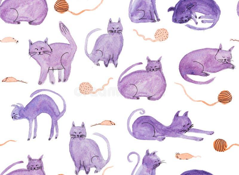 Bezszwowy wzór z akwareli ręką malował purpurowych koty i mouses ilustracja wektor