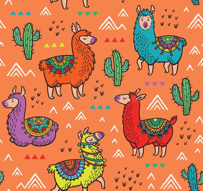 Bezszwowy wzór z alpagą i kaktusami royalty ilustracja