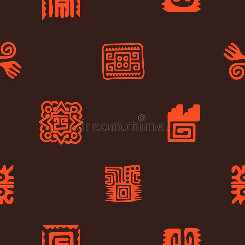 Bezszwowy wzór z Amerykańskimi indianin relikwii dingbats charakterami ilustracji