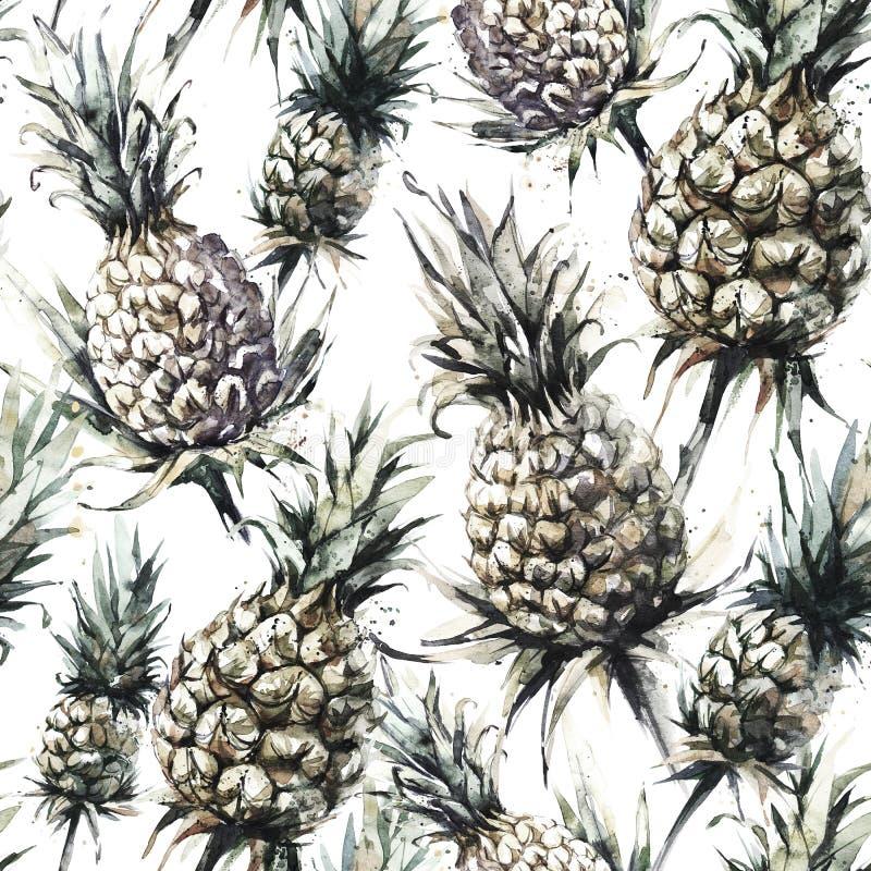 Bezszwowy wzór z ananasami i liśćmi Tropikalna lato akwareli ilustracja Botaniczna tekstura w brązowych cieniach fotografia royalty free