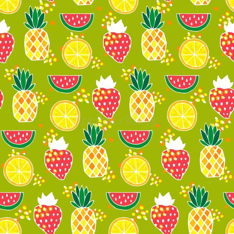 Bezszwowy wzór z ananasami, truskawki, arbuzy ilustracja wektor