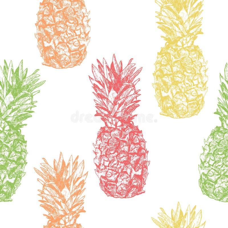 Bezszwowy wzór z ananasową ręką rysującą w nakreślenie stylu, isol ilustracji