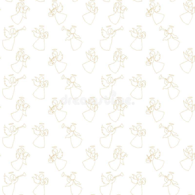 Bezszwowy wzór z aniołami ilustracja wektor