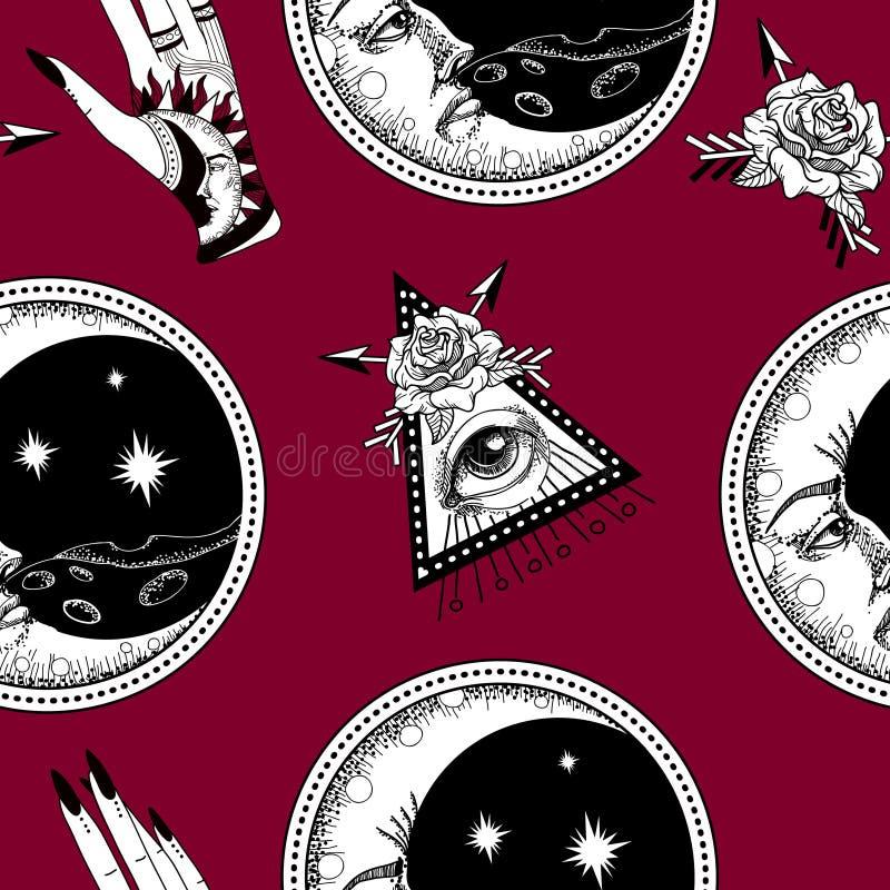 Bezszwowy wzór z antyczną astronomiczną ilustracją słońce księżyc gwiazdy róża royalty ilustracja