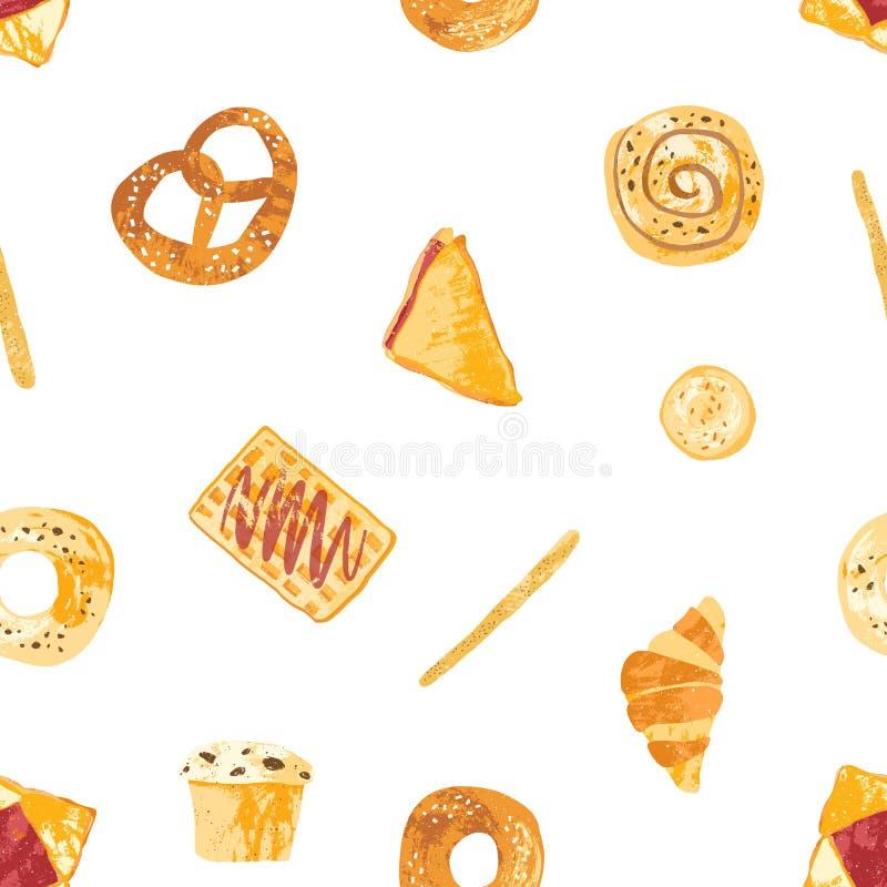 Bezszwowy wzór z apetycznymi chlebami, piec słodkim ciastem i deserami robić ciasto różnorodni typ na bielu, ilustracja wektor