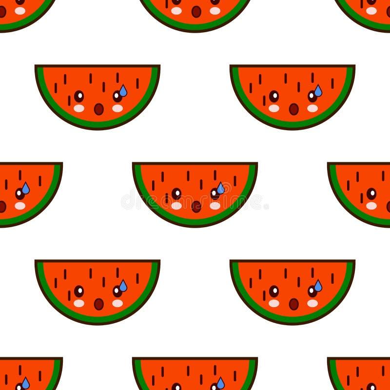 Bezszwowy wzór z arbuza kawaii ślicznymi owocowymi charakterami na białym tle Płaski projekta wektor ilustracji