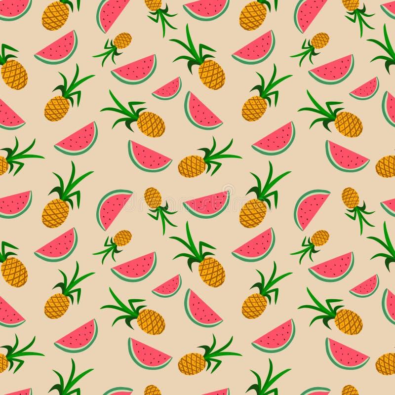 Bezszwowy wzór z arbuzami i ananasami elementy projektu podobieństwo ilustracyjny wektora royalty ilustracja