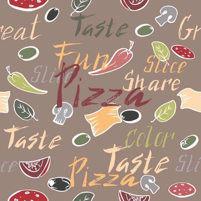 Bezszwowy wzór z atramentem malował pizza odnosić sie tekst ilustracji