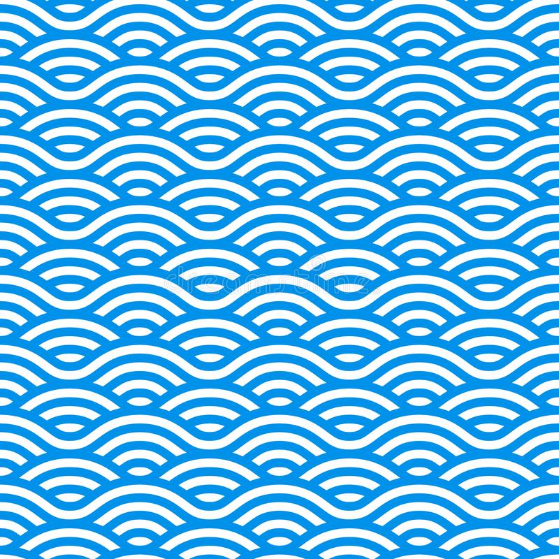 Bezszwowy wzór z Błękitnych i bielu falami Fale woda w Chińskim stylu Wektorowy liniowy ornament royalty ilustracja