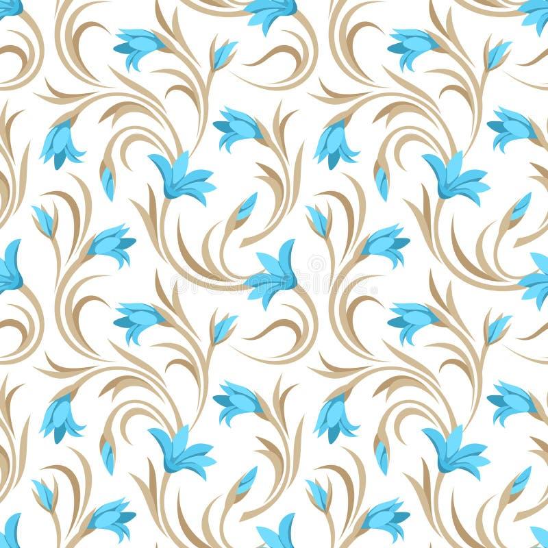 Bezszwowy wzór z błękitnymi gladiolusów kwiatami również zwrócić corel ilustracji wektora ilustracji
