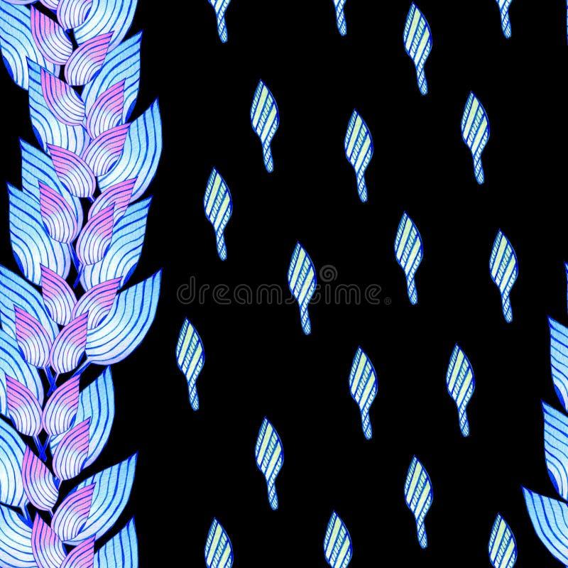 Bezszwowy wzór z błękitnymi liśćmi w afrykanina stylu ilustracja wektor