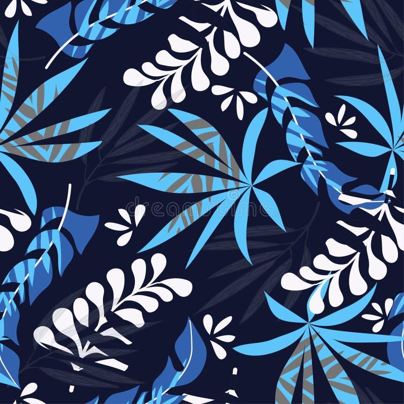 Bezszwowy wzór z błękitnymi tropikalnymi kwiatami na ciemnym tle 10 t?o projekta eps techniki wektor D?ungla druk szczeg??owy rys royalty ilustracja