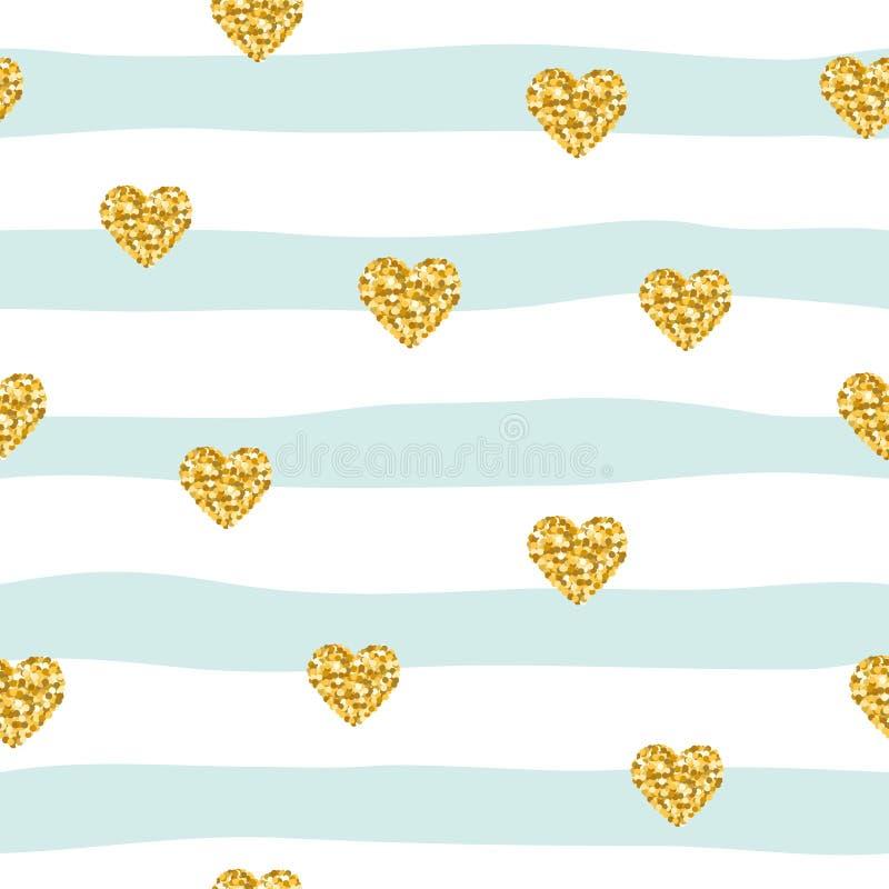 Bezszwowy wzór z błyskotliwość confetti sercami na pasiastym tle Złoci i pastelowi błękitni modni kolory Dla urodziny, fasonuje a royalty ilustracja