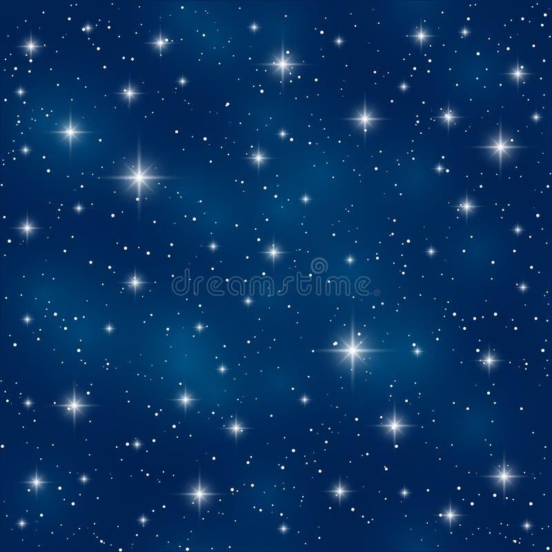 Bezszwowy wzór z błyszczącymi gwiazdami ilustracja wektor