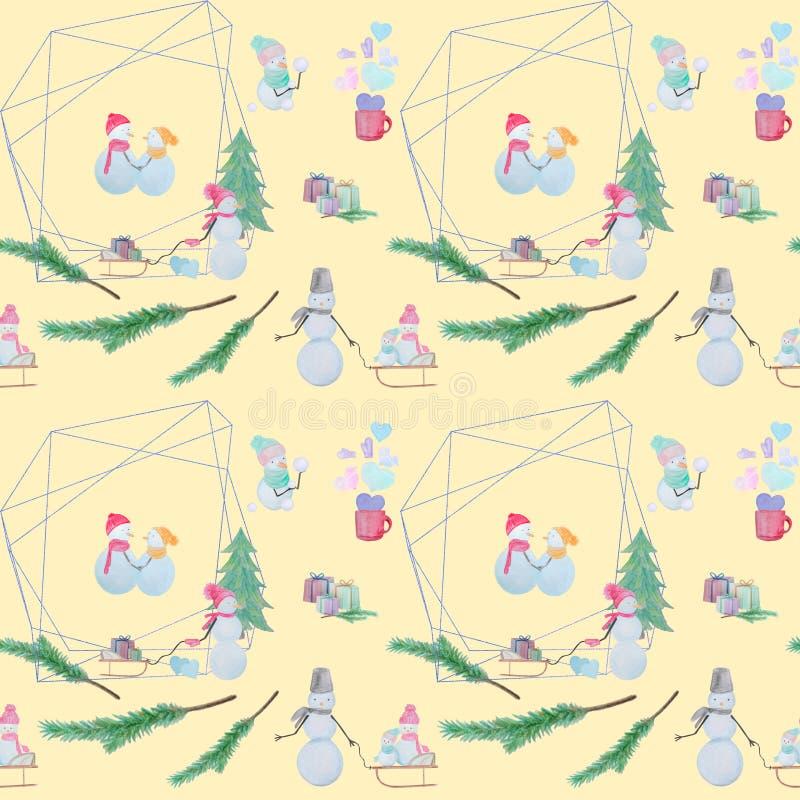 Bezszwowy wzór z bałwanami z barwionymi ołówkami ilustracji
