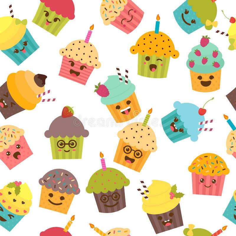 Bezszwowy wzór z babeczkami i muffins kreskówka śliczna ilustracja wektor