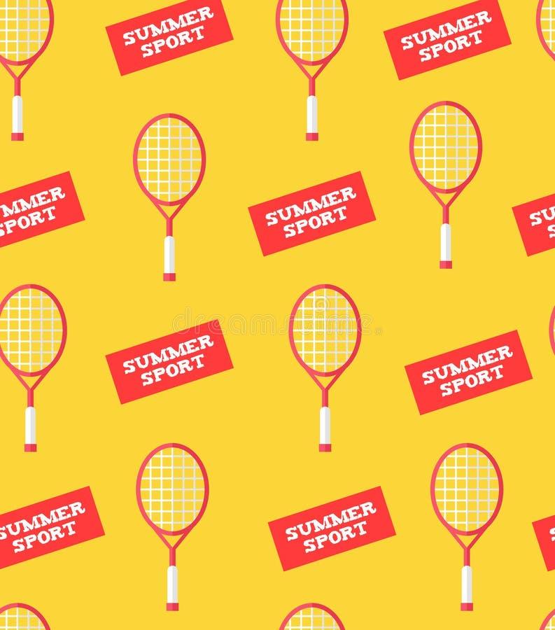 Bezszwowy wzór z badminton majcherów i kantów latem bawi się Mieszkanie styl Wektorowy tło royalty ilustracja
