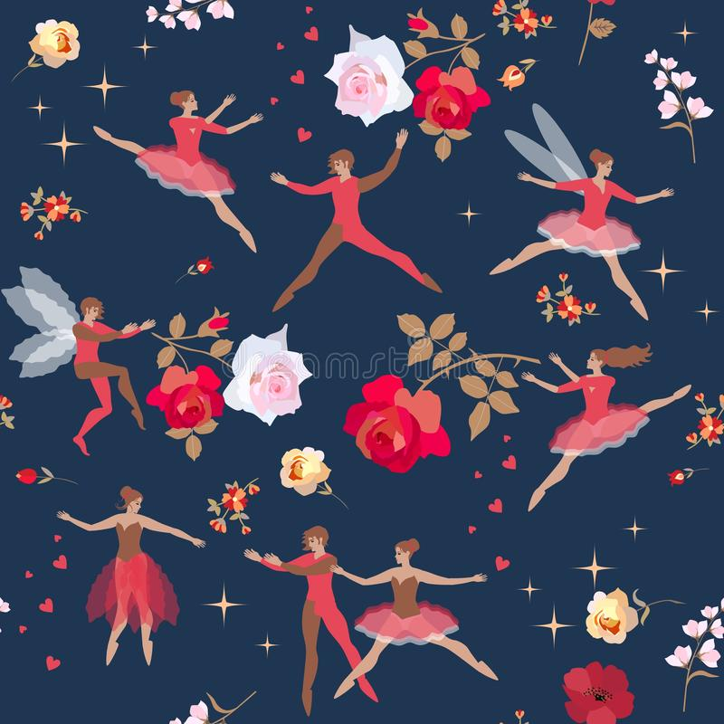 Bezszwowy wzór z baletniczymi tancerzami, elfem i czarodziejką na pięknym kwiecistym tle, Druk dla tkaniny, papier, tapeta ilustracji