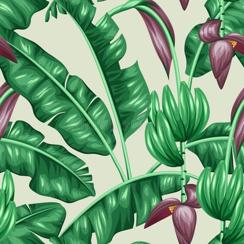 Bezszwowy wzór z bananowymi liśćmi Dekoracyjny wizerunek tropikalny ulistnienie, kwiaty i owoc, Tło robić ilustracja wektor