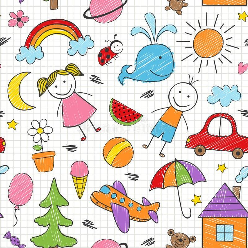 Bezszwowy wzór z barwionymi dzieciaków rysunkami royalty ilustracja