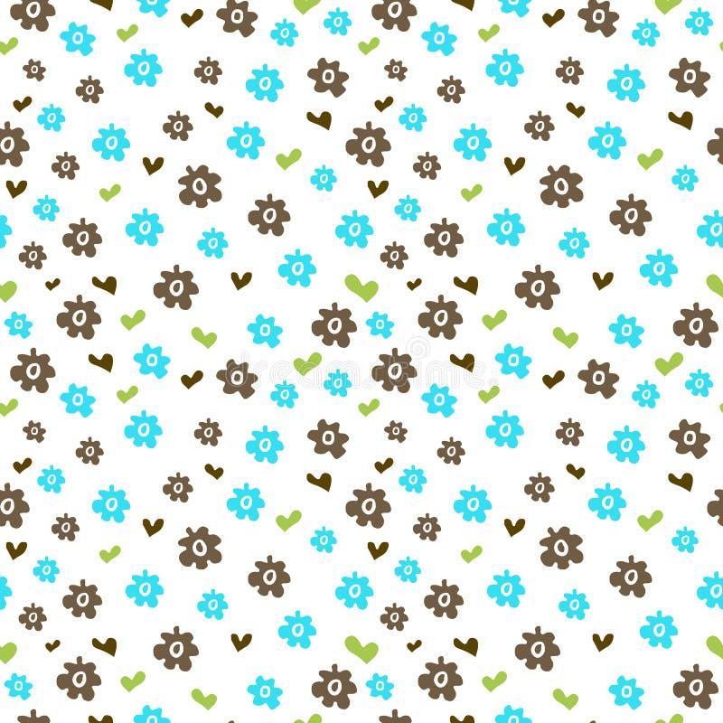 Download Bezszwowy Wzór Z Barwionymi Kwiatami I Sercami Ilustracja Wektor - Ilustracja złożonej z kwiecisty, wzór: 57656986