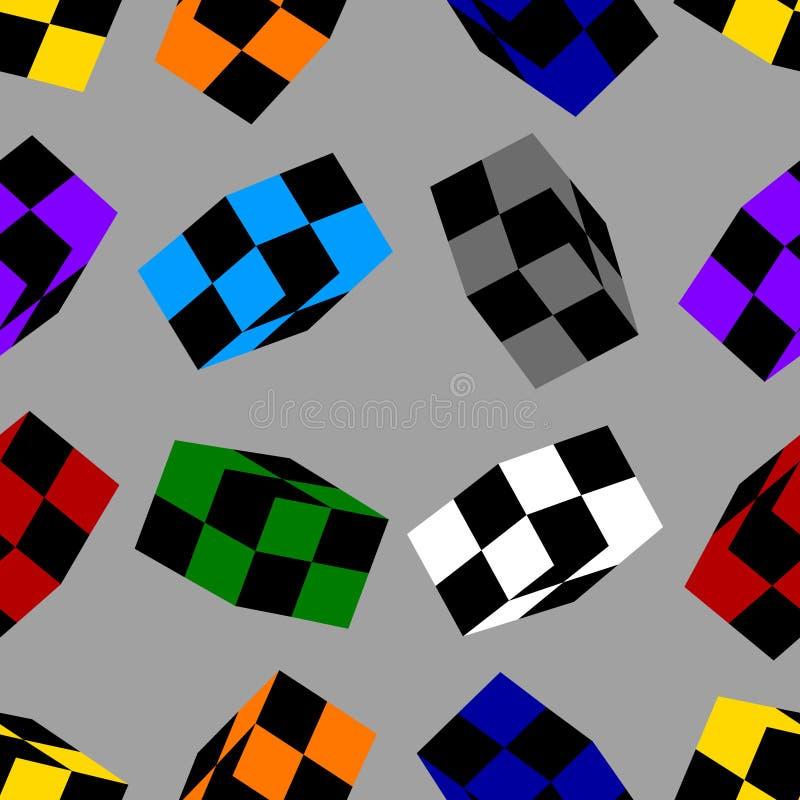 Bezszwowy wzór z Barwionymi Szachowymi sześcianami odizolowywającymi na szarym tle projekta świeża ilustracyjna naturalna wektoru ilustracja wektor