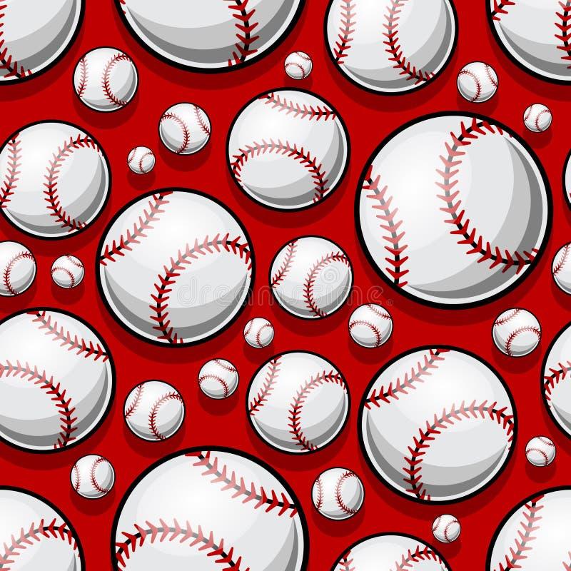 Bezszwowy wzór z baseballa softballa piłki grafika royalty ilustracja