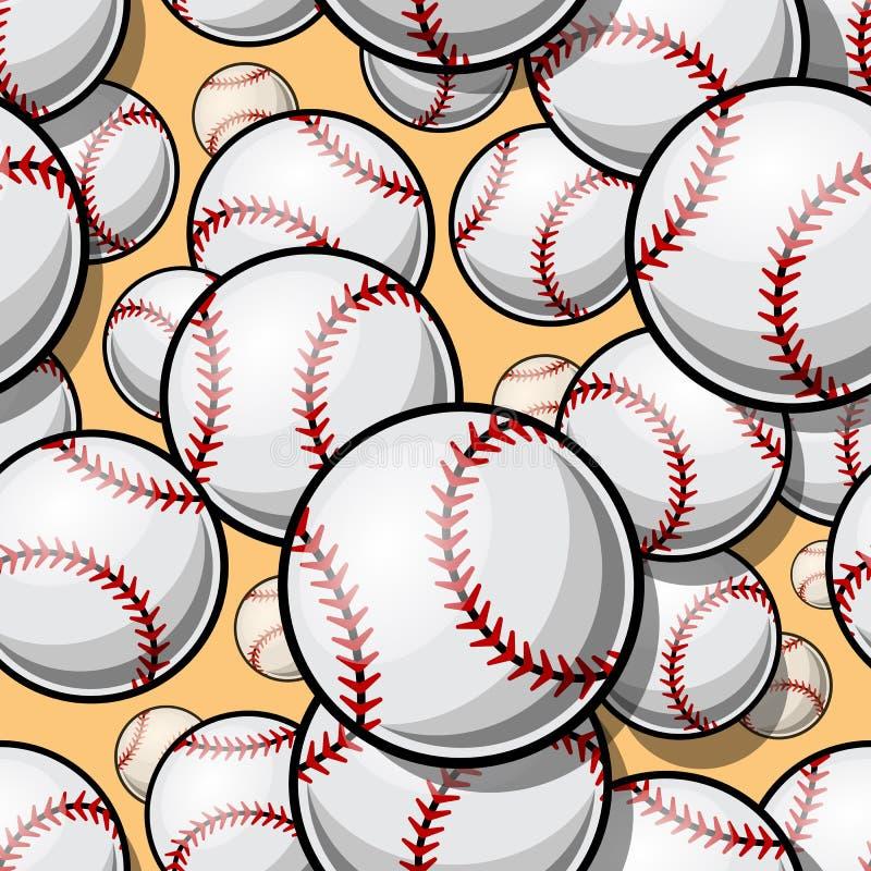 Bezszwowy wzór z baseballa softballa piłki grafika ilustracji