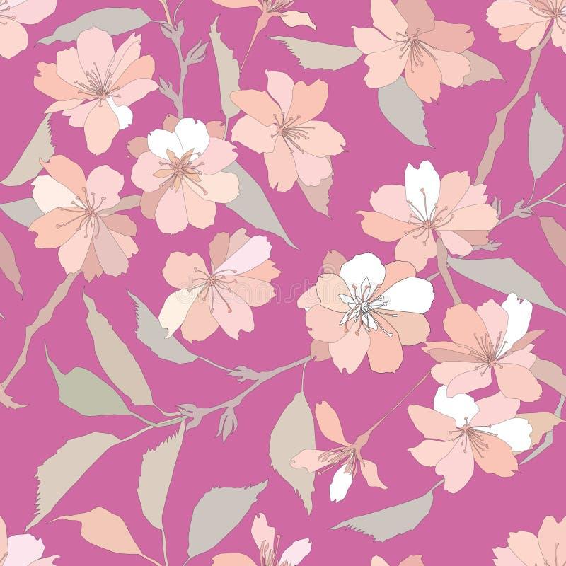 Bezszwowy wzór z biały i lilymi kwiatami royalty ilustracja