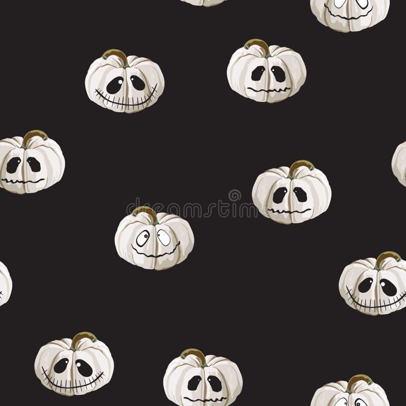 Bezszwowy wzór z białymi Halloweenowymi baniami rzeźbić stawia czoło na czarnym tle Może używać dla scrapbook cyfrowego papieru,  ilustracja wektor