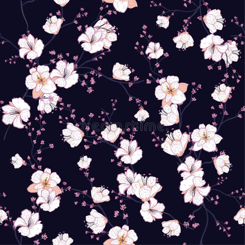 Bezszwowy wzór z białymi kwitnącymi gałąź, jabłoń o ilustracji