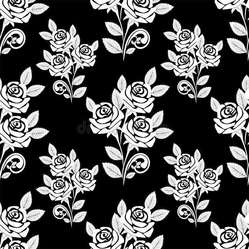 Bezszwowy wzór z białymi różami na czarnym tle. royalty ilustracja