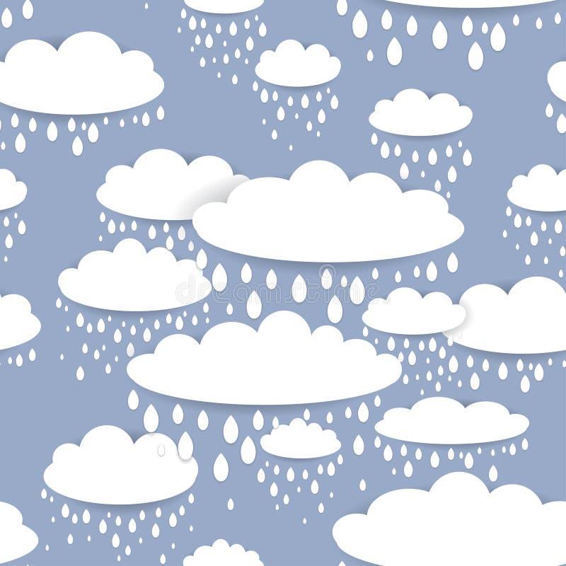Bezszwowy wzór z biel raindrops i chmurami na błękitnym tle royalty ilustracja
