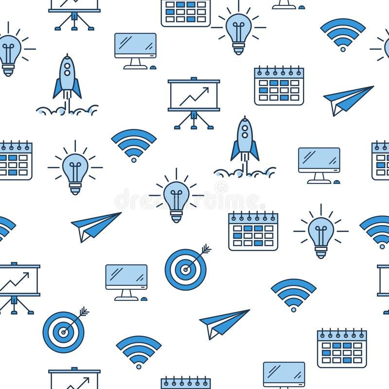 Bezszwowy wzór z biznesowymi ikonami royalty ilustracja