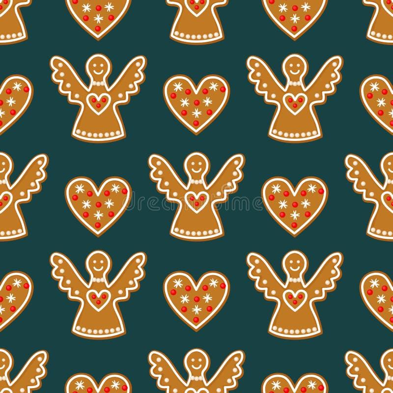 Bezszwowy wzór z Bożenarodzeniowymi piernikowymi ciastkami - aniołowie i sympatie ilustracji